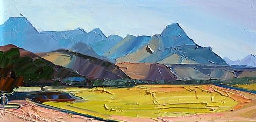 "Louisa McElwain, The Tumacacori from Palo Alto, Oil on Canvas, 15"" x 30"""