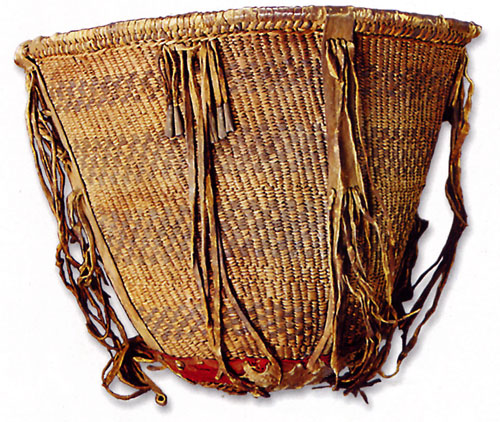 Western Apache tasselled burden basket, c. 1880, 33x40.6 cm