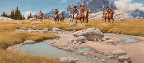 "Frank McCarthy (1924-2002), From the Meadows of the Beartooth, 1991, oil on canvas, 18""x40"""