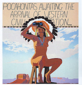 "Billy Schenck, Pocahontas Awaits, Oil on Canvas, 2012, 45"" x 42"""