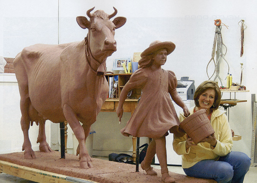 "Veryl Goodnight with Blue Bell Cow and Girl, Clay version of Bronze sculpture, 5.5"" feet tall"