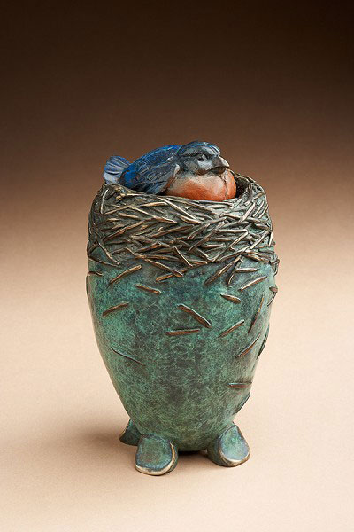 "Star Liana York, Bluebird Vessel, Bronze, 7"" x 4"" x 4"""