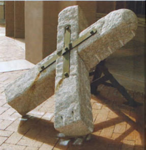 "Fred Borcherdt, Terminal Marker, stone and forged steel, 42"" x 51"" x 40"""