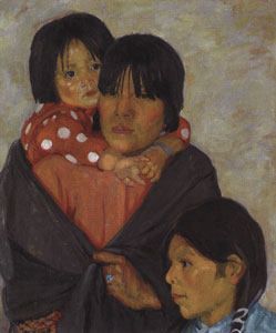 "Catharine Carter Critcher, Juanita Lucero and Her Children, 1924, Oil on Canvas, 26"" x 22-1/8""  Courtesy of the Eiteljorg Museum of American Indians and Western Art, Indianapolis, IN   Top - After Conservation, Bottom - Before Conservation"