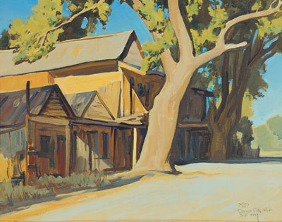 Maynard Dixon, Old China Town, (September 1937), oil on canvas board, 16 x 20""