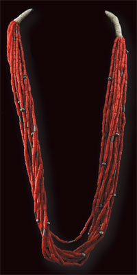 Navajo Nine Strand Coral Necklace, c. 1940