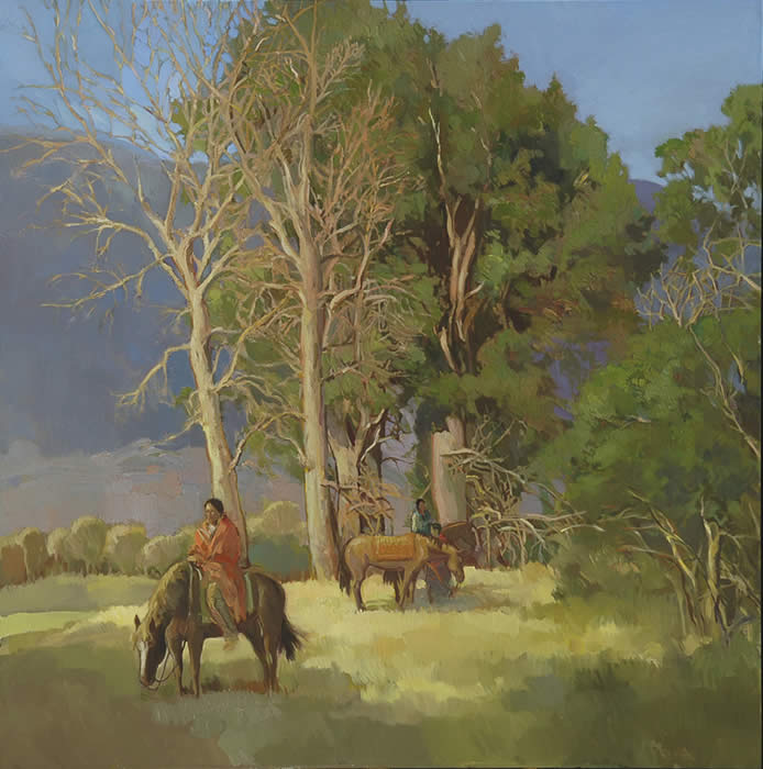 "Francis Livingston, Cottonwood Meadow, Oil on Panel, 40"" x 40"""