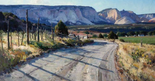 "Josh Elliott, Cove road, oil, 15"" x 30"", 2011"
