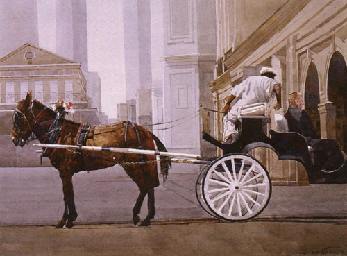 "Dean Mitchell, Carriage Ride, watercolor, 15""x20"""