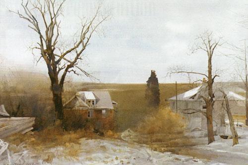 "Dean Mitchell, Misty, watercolor, 20""x30"""