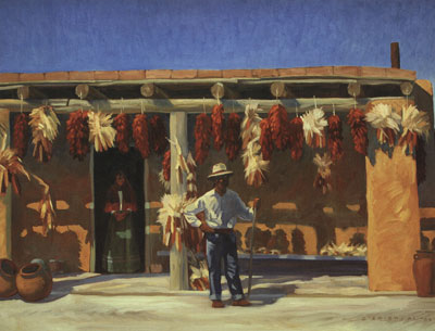 "Dennis Ziemienski, Chiles and Corn, oil on canvas, 36"" x 48"""