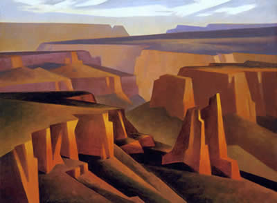 "Ed Mell, Step Down Canyon, Oil on Linen, 18"" x 24"""