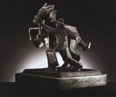 "Ed Mell, Sidestepper, Bronze Edition of 30, 11.5"" x 10"" x 9"""
