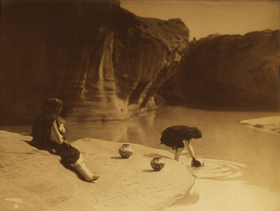 "Edward S. Curtis (1868-1952) At the Old Well of Acoma, Orotone, c. 1904, 10.5"" x 13.5"""