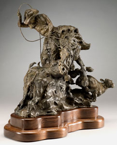 """Jan Mapes, From Bad to Worse, Bronze Edition of 21, 16"""" x 15"""" x 9""""  Photograph by Mel Schockner"""