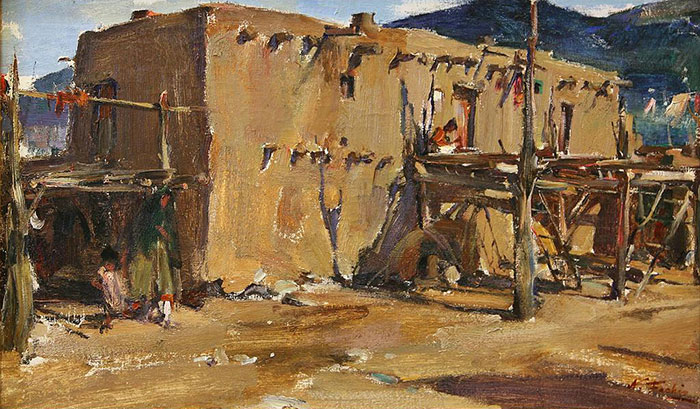 "Nicolai Fechin (1881-1955), Taos Pueblo House, oil on canvas, 19"" x 31"""