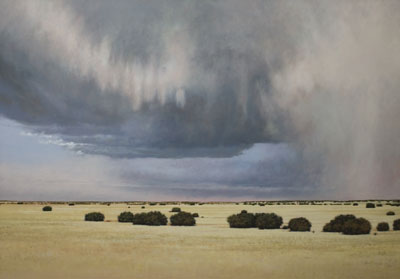 "Jeff Aeling, Hail Storm East of Cerrillos, New Mexico, Oil on Board, 34"" x 48"""