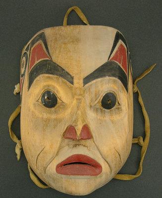 "Henry Green, Tsimshian Wooden Face Mask, c. 1970, 9.5"" x 6.75"""