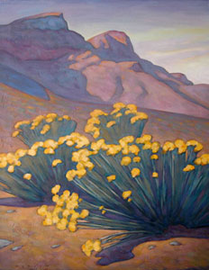 "Howard Post, Hillside Chamisas, Oil on Canvas, 28"" x 22"""