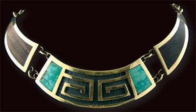 Hopi Golden Overlay Choker with Turquoise and Coco Bolo Wood by Phillip Sekaquaptewa, c. 1970