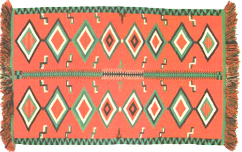 "Navajo Germantown Eyedazzler Banket, ca. 1890, 77-1/2"" x 54-1/2"""