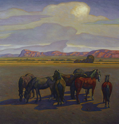 "Howard Post, Seven Mares, Oil on Canvas, 36"" x 36"""
