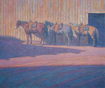 "Howard Post, Between Barns, Oil, 36"" x 44"""