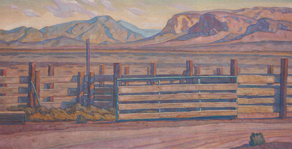 "Howard Post, New Lumber at Ralph's Place, oil, 24"" x 48"""