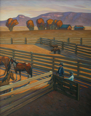 "Howard Post, Leaving the Barn, Oil on Canvas, 44"" x 36"""