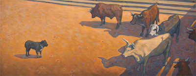 "Howard Post, In the Bull Pen, Oil on Canvas, 24"" x 60"""