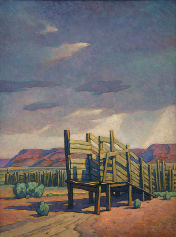 "Howard Post, Distant Storm, Oil on Canvas, 40"" x 30"""