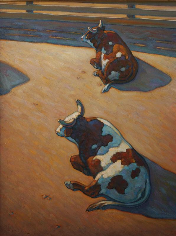 "Howard Post, Sitting Bulls, Oil on Canvas, 40"" x 30"""