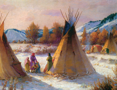 "J. H. Sharp, Cheyenne Camp, oil, 25"" x 30"" Courtesy Forrest Fenn"