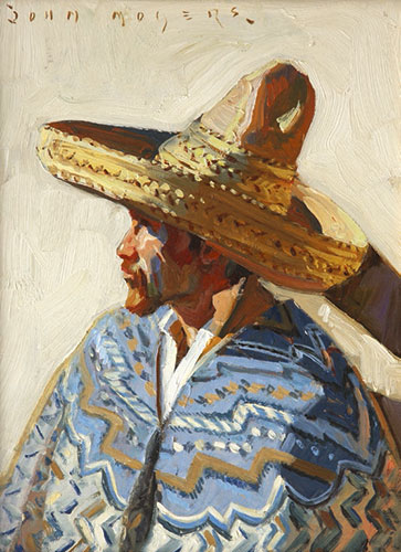 John Moyers, Hombre, oil on panel, 30 x 15""