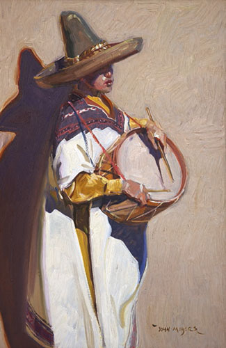John Moyers, Little Drummer Boy, oil on panel, 30 x 20""