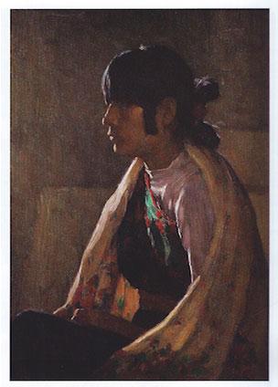 """Joseph Henry Sharp, Crucita Taos Girl, Oil, c. 1930s, 13"""" x 9.5"""""""