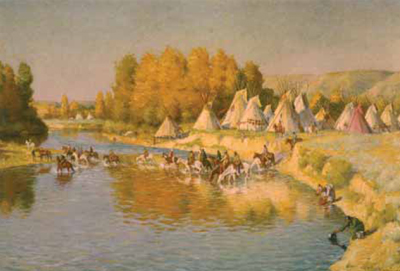 "J. H. Sharp, Camp on the Little Big Horn, oil, 27 x 40"" PHOTO COURTESY COLLECTION NATIONAL MUSEUM OF FINE ARTS, WASHINGTON, D.C."