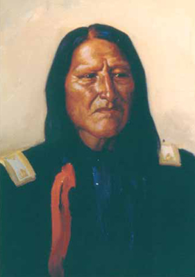 "J. H. Sharp, American Horse—Cheyenne Chief, oil, 14 x 10"" PHOTO COURTESY COLLECTION OF THE PHOEBE APPERSON HEARST MUSEUM OF ANTHROPOLOGY AND THE REGENTS OF THE UNIVERSITY OF CALIFORNIA"
