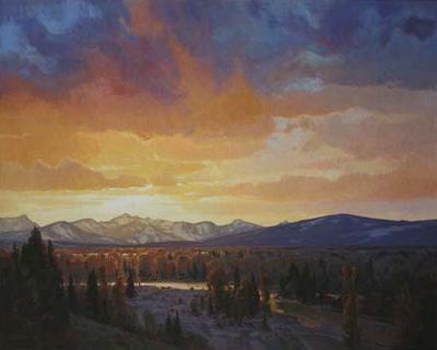 """Josh Elliott, Spring Sunset Bitterroot Vallery, Oil, 48"""" x 60"""""""