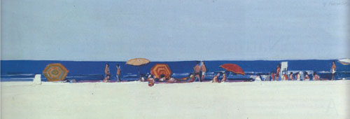 "Gregory Kondos, Long Beach, 1965, oil on canvas, 13""x41"""