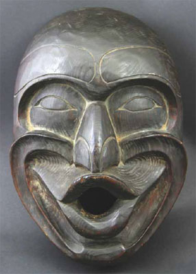 "Kwakiutl Dzoonkwa Mask attributed to Lelooska, circa 1970, 13.25"" x 9"" x 6"""