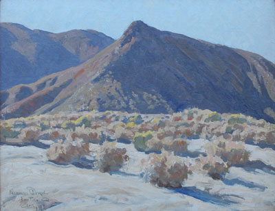 Maynard Dixon, Lone Pine, California, (c. 1919), oil on canvas board, 15 1/2 x 20""