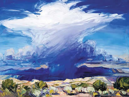 "Louisa McElwain, Desert Rain God, Oil on Canvas, 54"" x 72 """
