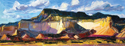 "Louisa McElwain, Ghost Ranch, Late Afternoon, Oil on Canvas, 24"" x 64"""