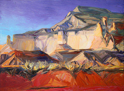 "Louisa McElwain, Red Draw, Shining Stone, Oil on Canvas, 54"" x 72"""