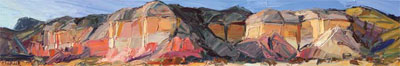"Louisa McElwain, Shining Cliffs, Ghost Ranch, Oil on Canvas, 12 "" x 72 """