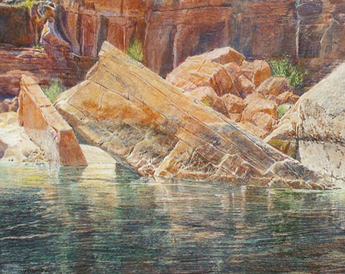 "Merrill Mahaffey, Unstable Rocks, acrylic on canvas, 36"" x 46"""