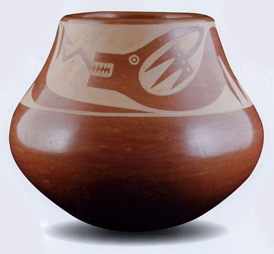 "Maria and Popovi Sienna Avanyu Vase, December 1964, 5.25"" x 6"""