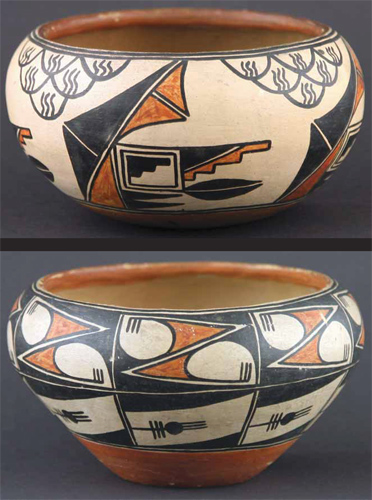 "Pair of Maria Martinez Polychrome Pots, circa 1915-20, 3.5"" x 6"""