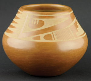 "Maria and Popovi Sienna Geometric Jar, February 1963, 5"" x 6"""